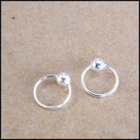Tiny Silver Hoop Captive Bead Ring, Nose Hoops, Lip ring, Cartilage Rings, Segment Rings-925 Sterling Silver - Ex 8 mm In 6 mm