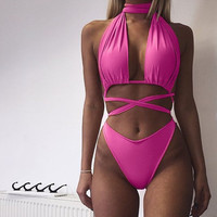 Neck Choker Designed Cross Strap Front Bikini
