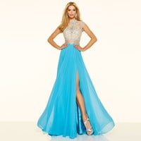 2016 Two Pieces Chiffon Prom Dresses Long Beading High Neck Crystals Sheer See Through Formal Party Dresses Split Side