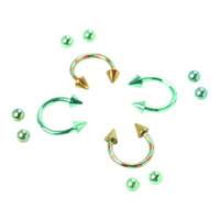 Steel Lime And Pink Striped Circular Barbell 4 Pack