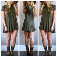A Short Sleeve Swing in Olive