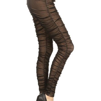Ruched Mesh Pants