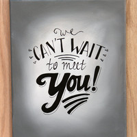Baby Shower Guestbook Canvas / We can't wait to meet you! / Hand-Painted Guestbook Alternative, More Colors Available
