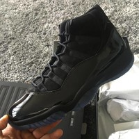 "Air Jordan 11 Retro ""Cap and Gown"" Triple Black ""Prom Night"" AJ11s Sneakers - Best Deal Online"