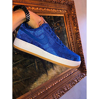 NIKE x CLOT AIR FORCE 1'BLUE SILK' low-top flat sneakers shoes