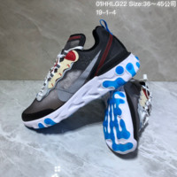 KUYOU N895 Nike Air React Element 87 Breathable Running Shoes Black White Blue