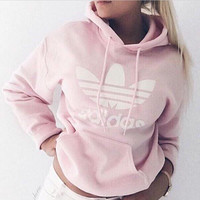 "Fashion ""Adidas"" Print Hooded Pullover Tops Sweater Sweatshirts Pink nude"