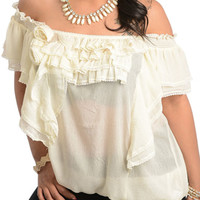 { BEST SELLER } Ivory Plus Size Sweet Off Shoulder Chiffon Ruffled Peasant Top