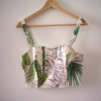 Tropical Leaves Crop Bustier Top, Palm Trees Crop Top, Exotic Print Green Top, Jungle Print Bustier, Printed Summer Bustier, Made to Order