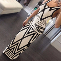 Women Sexy Geometric Sleeveless Slim Fitted Long Formal Evening Gown Dress = 1931860100