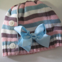 Adorable Girls Striped Beanie Made From Recycled Sweater with Blue Matching Grosgrain Bow Winter Hats Girls Hats
