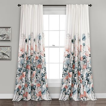 "Lush Decor Zuri Flora Curtains Room Darkening Window Panel Set for Living, Dining, Bedroom (Pair), 84"" x 52"", Blue and Coral 84"" x 52"""
