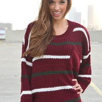 Striped Slouch Sweater - Maroon | Shop Civilized