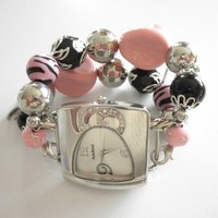 Chunky Interchangeable Pink and Black Watch Band