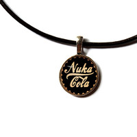 Nuka cola necklace Fallout pendant Post nuclear jewelry Antique style n221