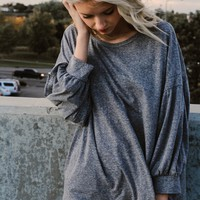 Holla Grey Slouch Sleeve Top