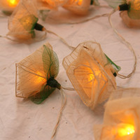 Yellow cream rose flower fairy light string - skeletonised leaves - 20 lights - battery powered - natural wedding decor