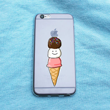Happy Cartoon Ice Cream Clear iPhone Case - iPhone 5 5S 6 6S 6 Plus Case