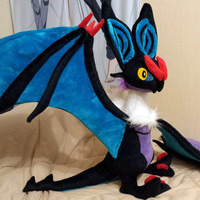 Pokemon X and Y Generation 6 Kalos inspired HUGE Noivern Onvern plushie (75x90x120 cm) made of minky, super cuddly posable plush!