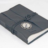 Black Leather Journal with Cameo and Bookmark