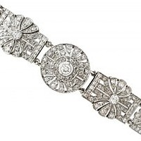 4.48ct Diamond and Platinum Bracelet - Art Deco - Vintage Circa 1940