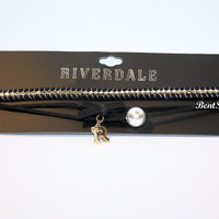 """Licensed cool Riverdale 3-Tier Faux Pearl & """"R"""" Charm Black Cord Choker Pendant Necklace NWT"""