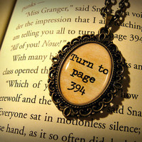 Turn To Page 394, Alan Rickman, Severus Snape, Harry Potter Necklace Pendant Antique Bronze