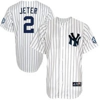 Derek Jeter New York Yankees Majestic Youth Replica Jersey with Retirement Patch - White