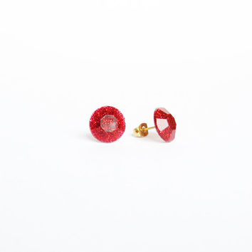 RUBY GLITTER STUD Earrings. Shining party red post studs