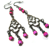 Bright Hot Pink Dangle Chandelier Earrings Gunmetal Womens Fashion Jewelry