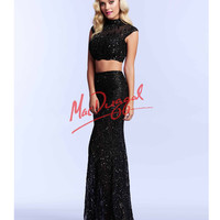 Black Two Piece Crop Top Sequin Dress