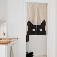 "Japanese Noren Doorway Curtain / Tapestry 33.5"" Width x 47.2"" Long with Black Cat"
