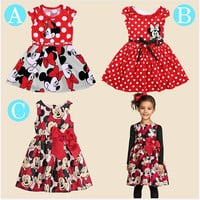 Free shopping 2017 New summer dress  Minnie Mouse Dress girls clothes  printing dot sleeveless dress dress girl fashion