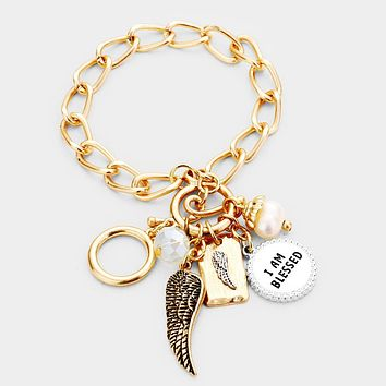 I Am Blessed Angel Wings Pearl Charm Toggle Bracelet