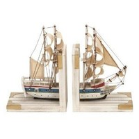 """Bookends Nautical Sailboat Bookend 9""""h, 6""""w Wood Book Ends"""