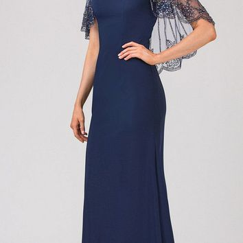 Navy Blue Long Formal Dress with Sheer Embellished Fixed Shawl