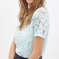 FOREVER 21 Daisy-Patterned Mesh Tee Mint