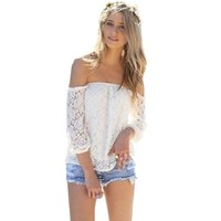 ABC Sexy White Lace Off-shoulder Loose Tops Fashion Casual T-shirt Blouse (XL)