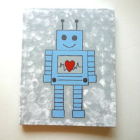 Robot boy acrylic canvas painting for trendy room or home decor