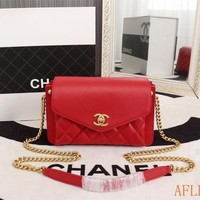 753 Fashion Three Compartment Chain Shoulder Crossbody Pouch Flap Bag Casual Baguette Bag 23-14-7cm