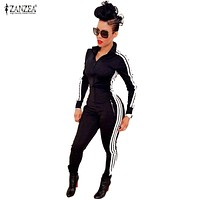 New Women Jumpsuits Rompers 2016 Fashion Ladies Long Sleeve Sportswear Playsuits Zipper Bodysuit Overalls macacao