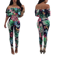 Flower Print Ruffle Off Shoulder Jumpsuit