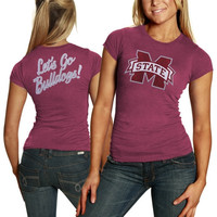 Mississippi State Bulldogs Ladies Audible Melange Doube-Sided Slim Fit T-Shirt - Maroon