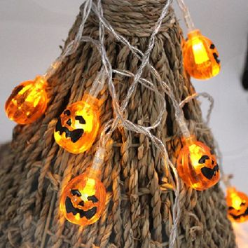New 1.2m/2.5m Creative Pumpkin 10 LED /20 LED String Lights DIY Halloween Garden Party Decoration Lights Warm White Hot Sale