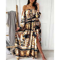 New product evening dress European and American print dress V-neck pullover retro long-sleeved large swing dress