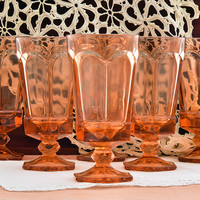 Fostoria Virginia Peach Water Goblets Iced Tea Glasses Set of 6 Vintage Glassware Replacement Glass