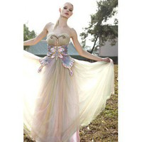 Unique Colorful Butterfly A-line Strapless Long Evening Dress