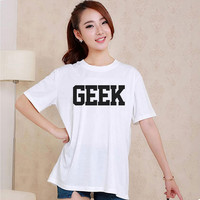 Cute GEEK Style White and Black Reaclothstore