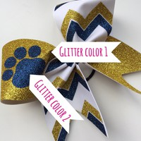 Mascot bow with chevron. Black, red glitter and white fabric chevron cheer bow with paw