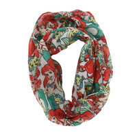 Disney The Little Mermaid Ariel White Stacked Character Viscose Infinity Scarf